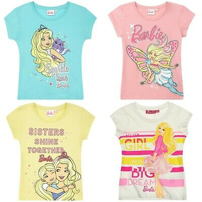 Girls Kids Children Barbie Short Sleeve T-shirt Tee Tshirt Top Age 2-8 years