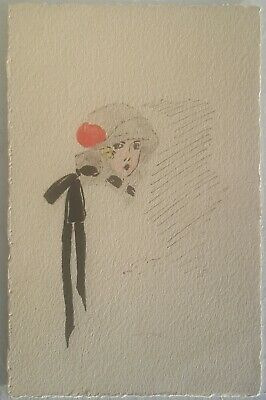 French Art Deco Glamour, Hand Drawn, Woman in Fancy Hat with Red Flower,  1922
