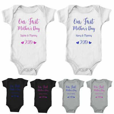 Our First Mothers Day Custom Baby Grow Personalised Gift 1st Bodysuit Vest 2019
