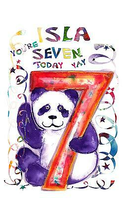 Personalised Birthday Card Seven Year Old Kids Panda 7 Cards