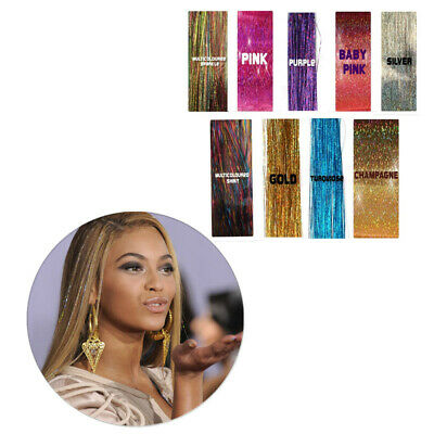 Holographic Glitter 100 Strands Hair Highlights Party Tinsel Sparkle Extensions