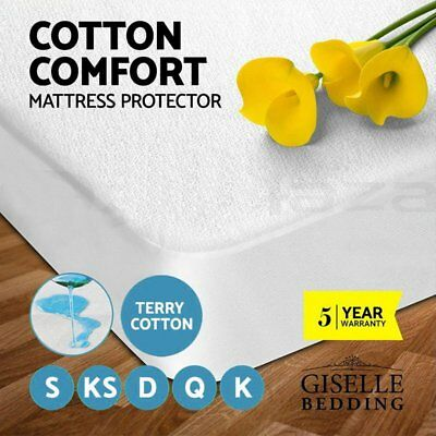 Giselle Bedding Mattress Protector Waterproof Fully Fitted Terry Cotton All Size