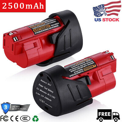 NEW 2-Pack For Milwaukee M12 48-11-2420 12V 12Volt 2.5AH Extend Capacity Battery