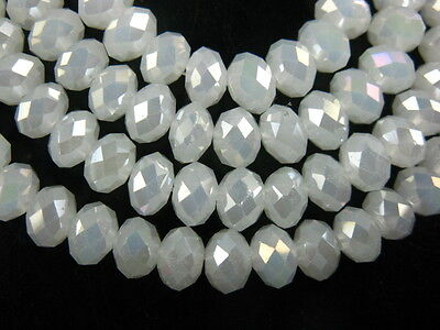 200pcs 5040# Rondelle Faceted Jade White AB Glass Loose Beads 3x2mm DIY Findings
