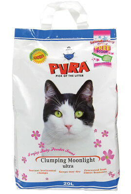 Pura Clumping Cat Litter Baby Powder 20ltr *DAMAGED PACKAGING + Food Scoop