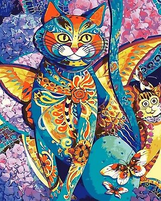 BOHEMIAN CAT ABSTRACT PAINTING PAINT BY NUMBERS CANVAS KIT 20 x 16 ins FRAMELESS