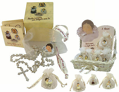 N.1 COMPLETE KIT FAVOURS ROSARIO SILVER+BAG and ANGELO 925 silver%