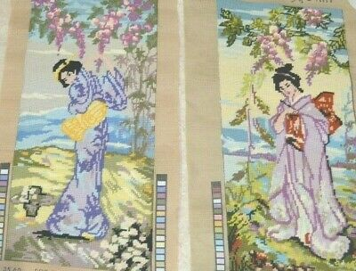 2 Vintage Completed Embroidery Needlepoint Canvas Tapestry Japanese Geisha Girl