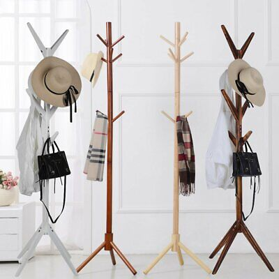 8 Hooks 4 Colors Coat Hat Bag Clothes Rack Stand Tree Style Hanger Wooden Stand!