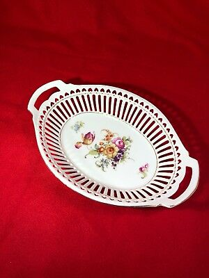 Large Vintage German Reticulated Porcelain Oval Bowl with Handles