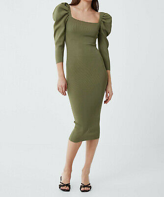 bee2f8c5 ZARA NEW WOMAN Knit Puff Sleeve Dress Midi Olive Green S,M,L Ref ...