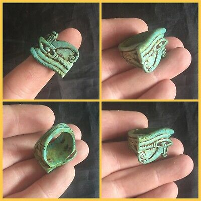 Rare ancient Egyptian blue eye of Horus amulet ring, 300 bc