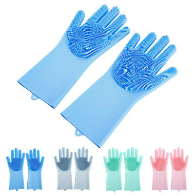 2 PCS Cleaning Brush Scrubber Glove Heat Resistant Waterproof Glove