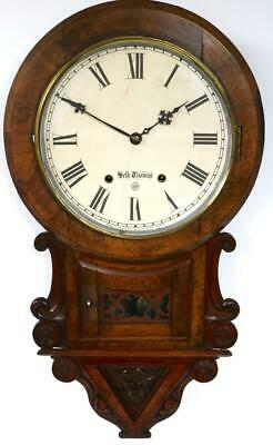 Beautiful Antique American 8 Day Carved Walnut Drop Dial Wall Clock Seth Thomas
