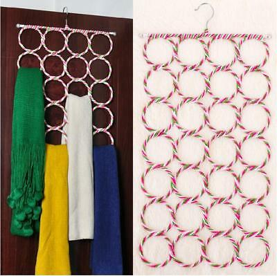 Ring Rope Slots Holder 28-Hole Foldable Hook Scarf Wraps Shawl Rack N7