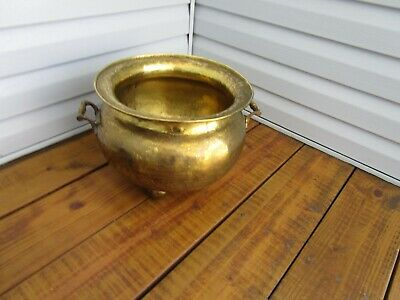 Antique/vintage Heavy Solid Brass [Extra Large]  Footed Twin Handle Planter!!