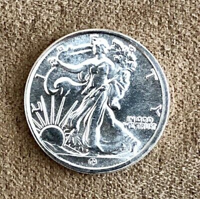 Uncirculated Silver Round; 1/10 Troy Oz. Walking Liberty; Purity .999 Fine.