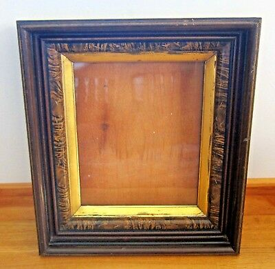 Antique Victorian Walnut Shadow Box Picture Frame Etched Eastlake Square Nails