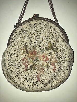 Antique Victorian France White Micro Beaded Floral Petit Point Purse Evening Bag