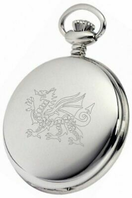 Personalised Silver Welsh Dragon Pocket Watch Pw188