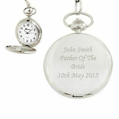 Personalised Silver Pocket Watch With Chain & Free Velvet Pouch Pw200