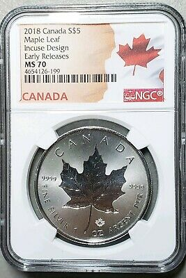 2018 Canada 1oz Silver Maple Leaf NGC MS70 - Early Releases - Flag Label