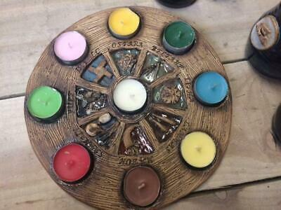 Wheel Of The Year Tea Light Holder By  Wyn Abbot Ceramics Pagan/ Witch/ Occult