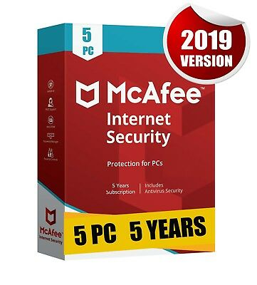Mcafee Internet Security 2019 5 Pc 5 Years Antivirus Best Protection Pc Laptop