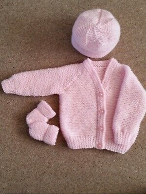 Baby Hand Knitted Cardigan + Mittens + Hat Baby Pink, 3-6 Months, New