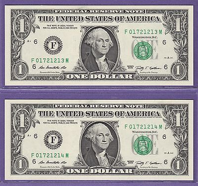 Federal Reserve Note One Dollar Bills ..$1.00..2 Consecutive Unc Notes 1314