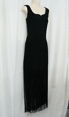TOGETHER Brand Jet Black Bodycon dress w/ 22 INCH FRINGE; Size Med, EUC