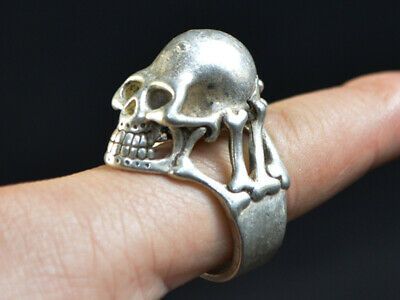 Chinese Cool Antique Collec Handwork Old Silver Ring Skull Bone Statue China