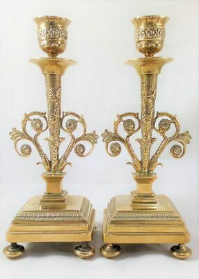Pair of Ornate French Brass Candlesticks Empire Style Antique 19th Century c1860