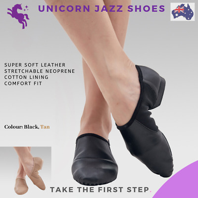 Unicorn Leather Jazz dance shoes child and adult Tan and Black