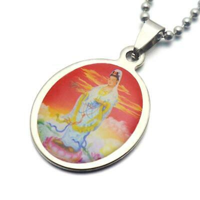 "KWAN YIN NECKLACE Stainless Steel 23"" Chain Pendant Buddhist Goddess Guan Kuan"