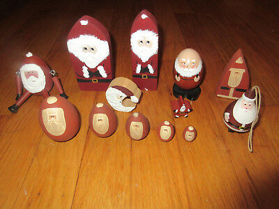 Mixed Lot Primitive Santa Shelf sitters wooden blocks eggs