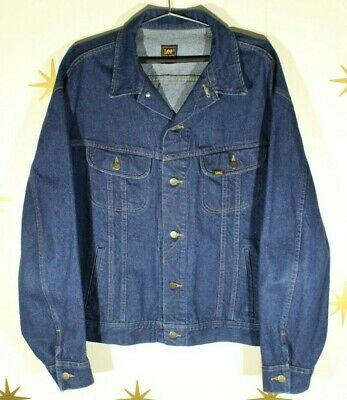 Vintage Men's LEE 153438 Dark Blue Jean Denim Trucker Jacket Sz 50 L