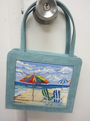 Needlepoint Purse Blue Suede with Beach Scene Hand Stitched
