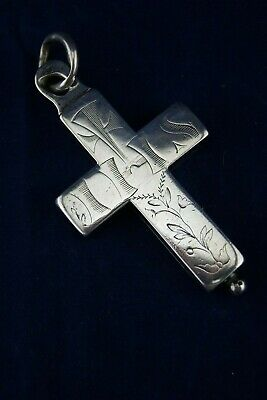 † 19Th Ihs Reliquary Sterling Silver Pectoral Jesuit Cross 3 Relics France †