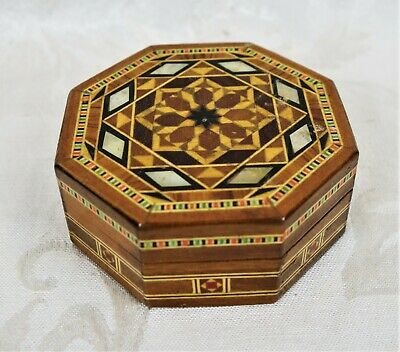 Vintage Ornate Wooden Inlaid Hand Made Mother Of Pearl Mosaic Octagon Box