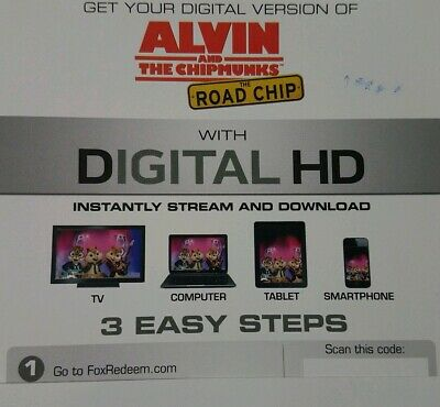 Alvin And The Chipmunks - The Road Chip! Digital HD UV CODE !