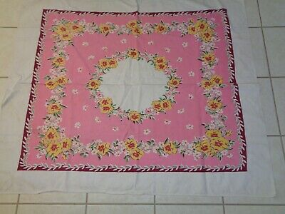 Vintage Pink Tablecloth Floral Flowers Pansy's