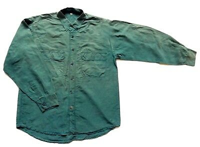 "Mens Vintage Green Silk Shirt Retro Large 44"" Chest"