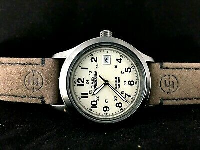 Timex Men S Expedition Rugged Metal Field Natural Dial Watch Brown Leather