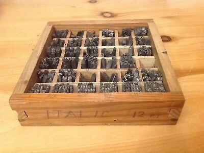 Italic 12 pt letters Numbers , Letterpress Metal Type  tray 51/2x 51/2