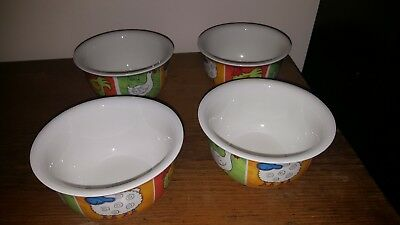 DUNOON FUNKY FARM LARGE CEREAL SOUP BOWLS X 4 by Jane Brookshaw