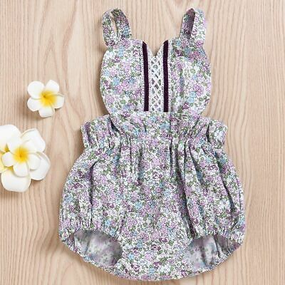 Outfits Newborn Bodysuit Backless Jumpsuit Floral Print Baby Girls Romper