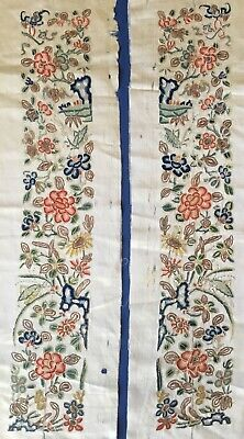 Pair Of Antique Chinese Embroidered Sleeve Bands. Forbidden Stitch.crickets,bats