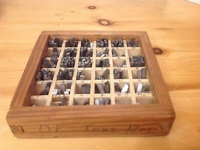 OE TEXT 12 pt letters Numbers , Letterpress Metal Type  tray 51/2x 51/2 ins
