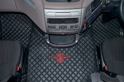 Truck Eco Leather Floor Mats Set Fit Daf Xf 106 Automatic - After 67 Plate-Black